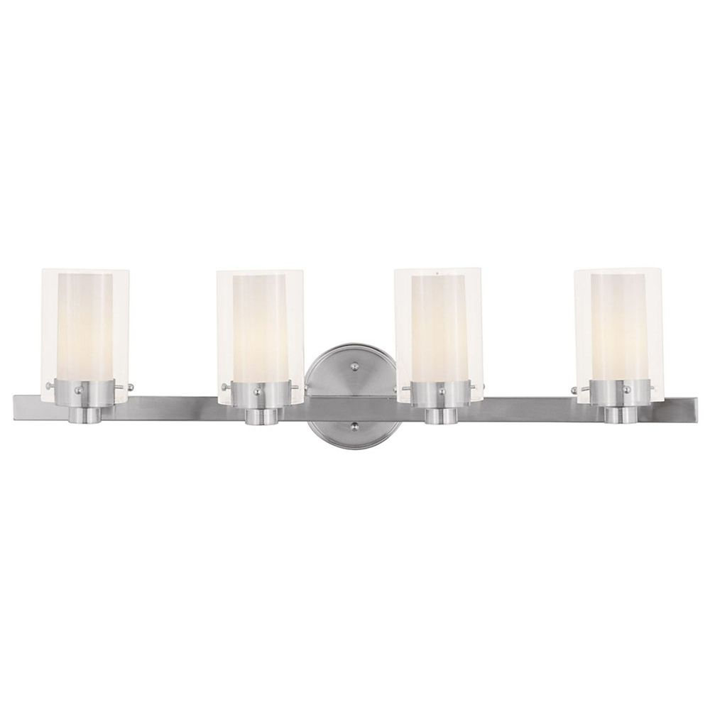 Providence 4-Light Brushed Nickel Bath Vanity with Clear Outside and Opal Inside Glass
