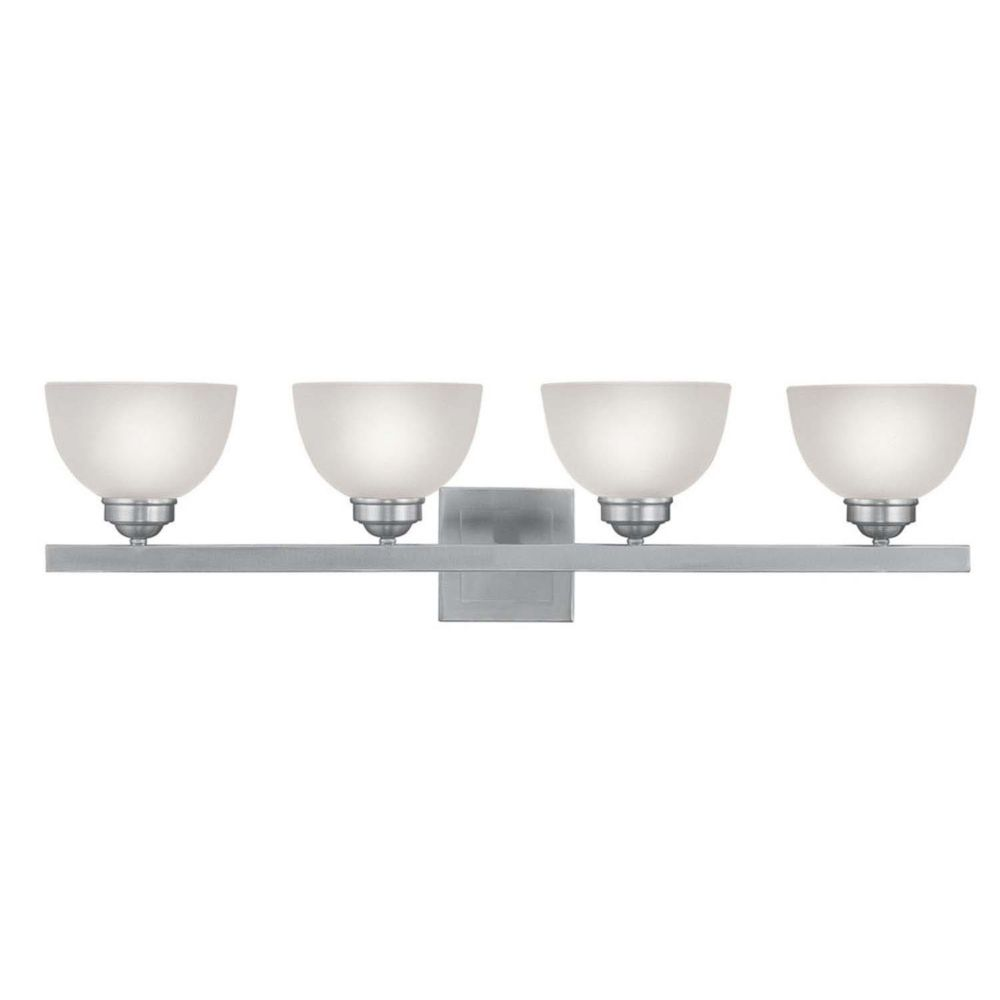 Providence 4 Light Brushed Nickel Incandescent Bath Vanity with Satin Glass CLI-LTG4204-91 Canada Discount