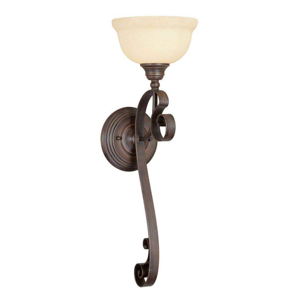Providence 1-Light Bronze Wall Sconce with Vintage Scavo Glass