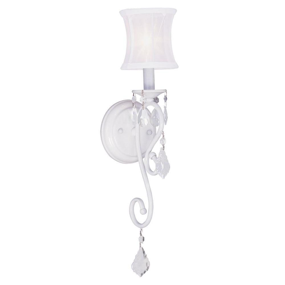 Providence 1-Light White Wall Sconce with an Off-White Silk Shimmer Shade