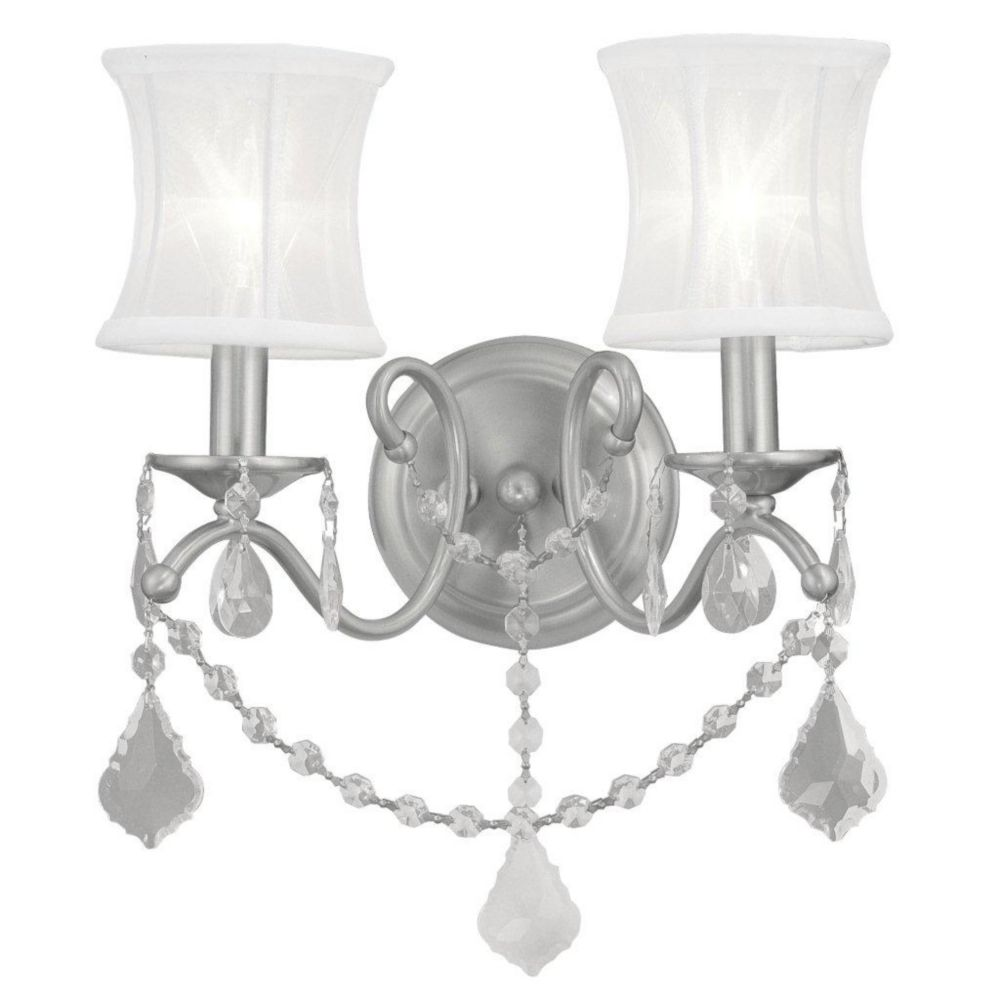 Providence 2 Light Brushed Nickel Incandescent Wall Sconce with an Off White Silk Shimmer Shade