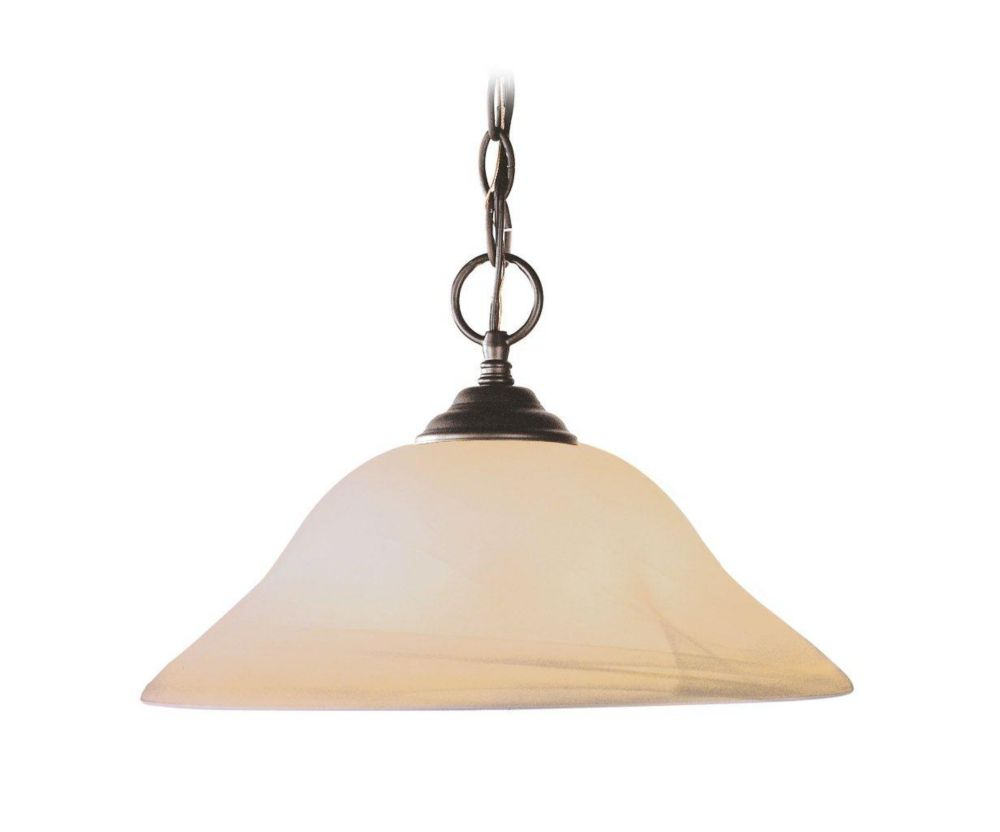 Providence 1-Light Bronze Pendant with Honey Alabaster Glass
