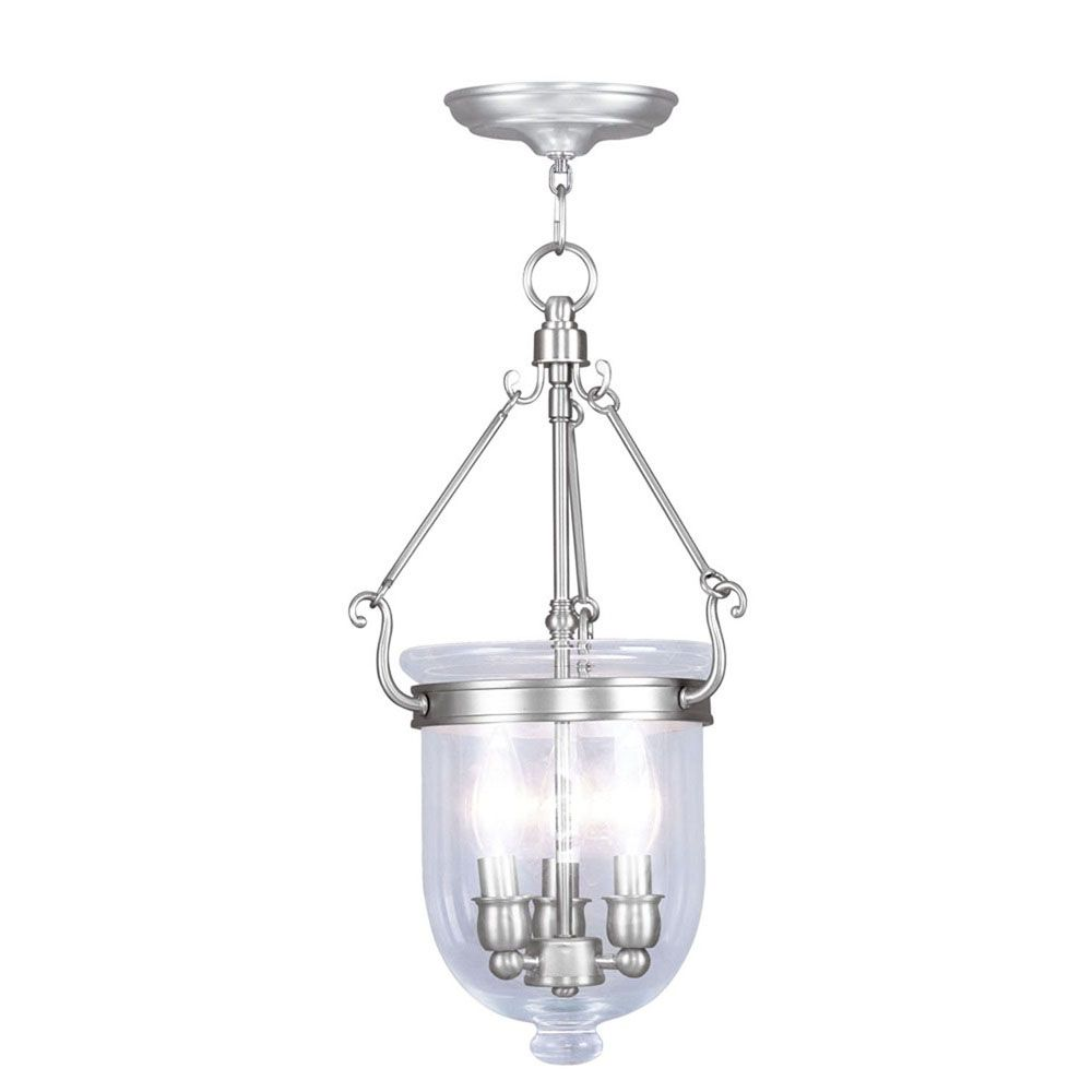 Illumine Providence 3 Light Brushed Nickel Incandescent Pendant with Clear Glass