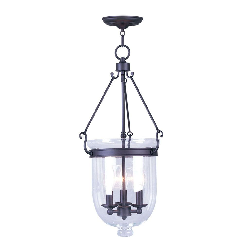 Providence 3-Light Bronze Pendant with Clear Glass