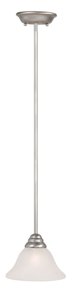 Providence 1 Light Brushed Nickel Incandescent Mini Pendant with White Alabaster Glass