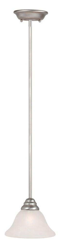 Providence 1-Light Brushed Nickel Mini Pendant with White Alabaster Glass