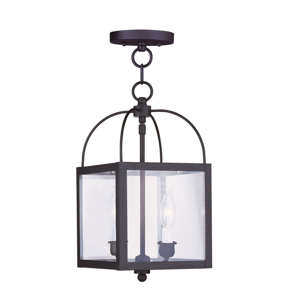 Providence 2-Light Black Pendant with Clear Glass