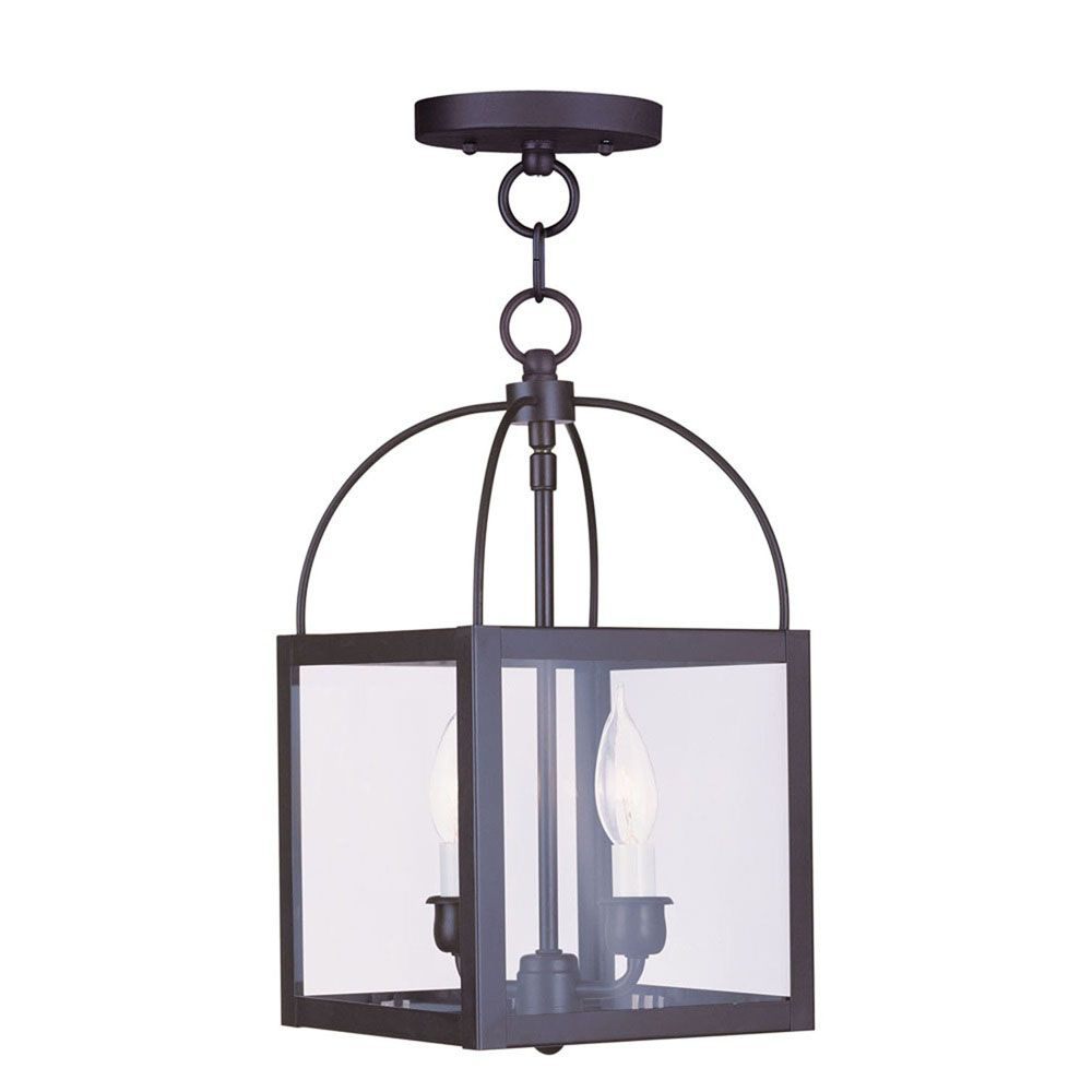Providence 2-Light Bronze Pendant with Clear Glass