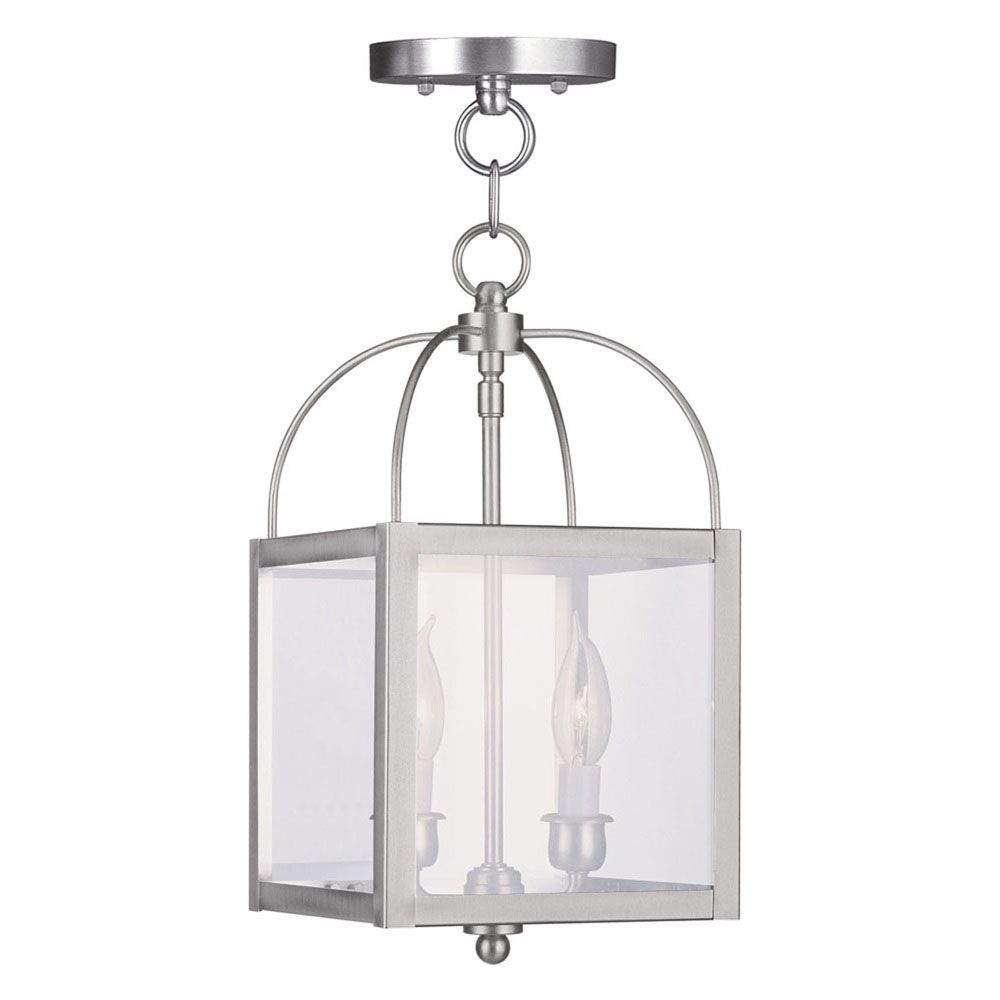 Providence 2-Light Brushed Nickel Pendant with Clear Glass