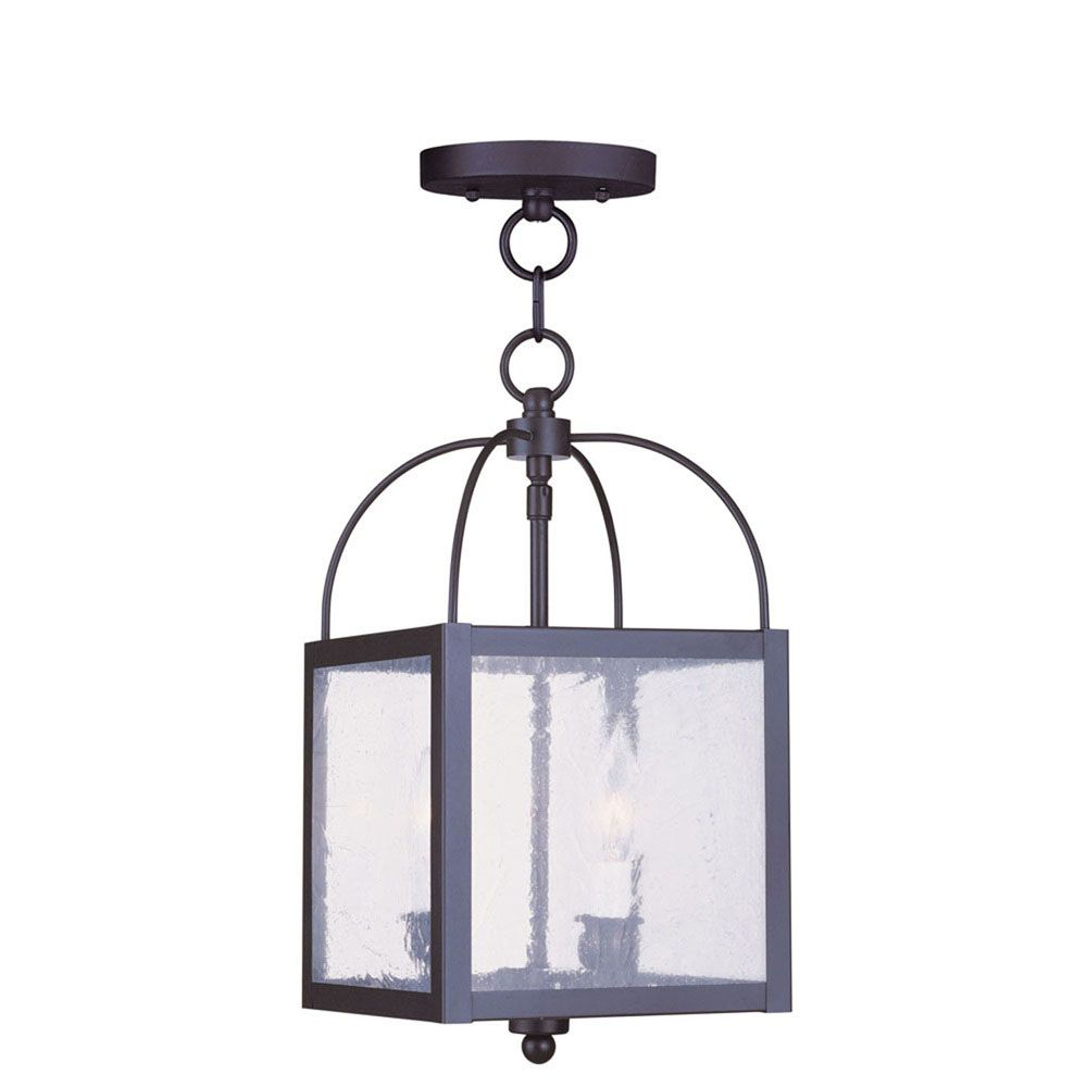 Providence 2-Light Black Pendant with Seeded Glass