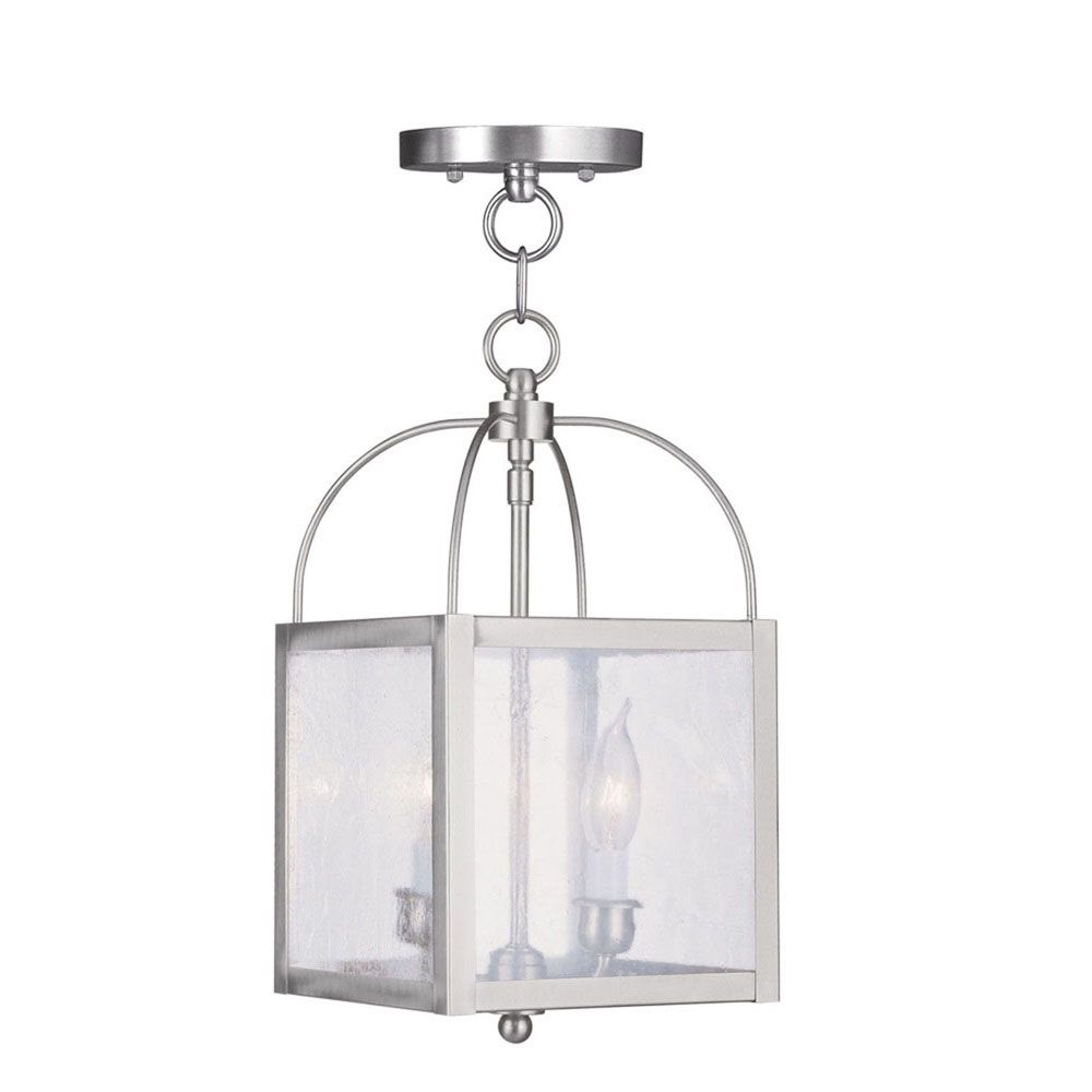 Providence 2-Light Brushed Nickel Pendant with Seeded Glass