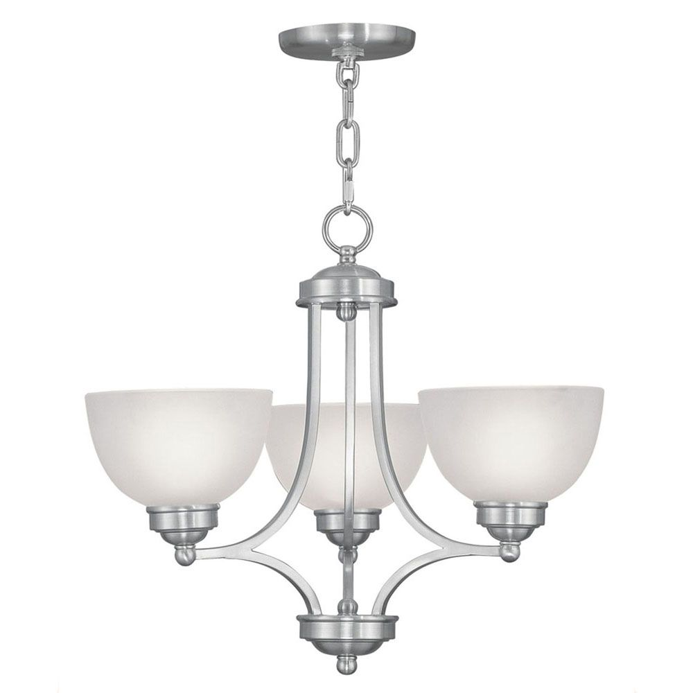 Providence 3 Light Brushed Nickel Incandescent Chandelier with Satin Glass