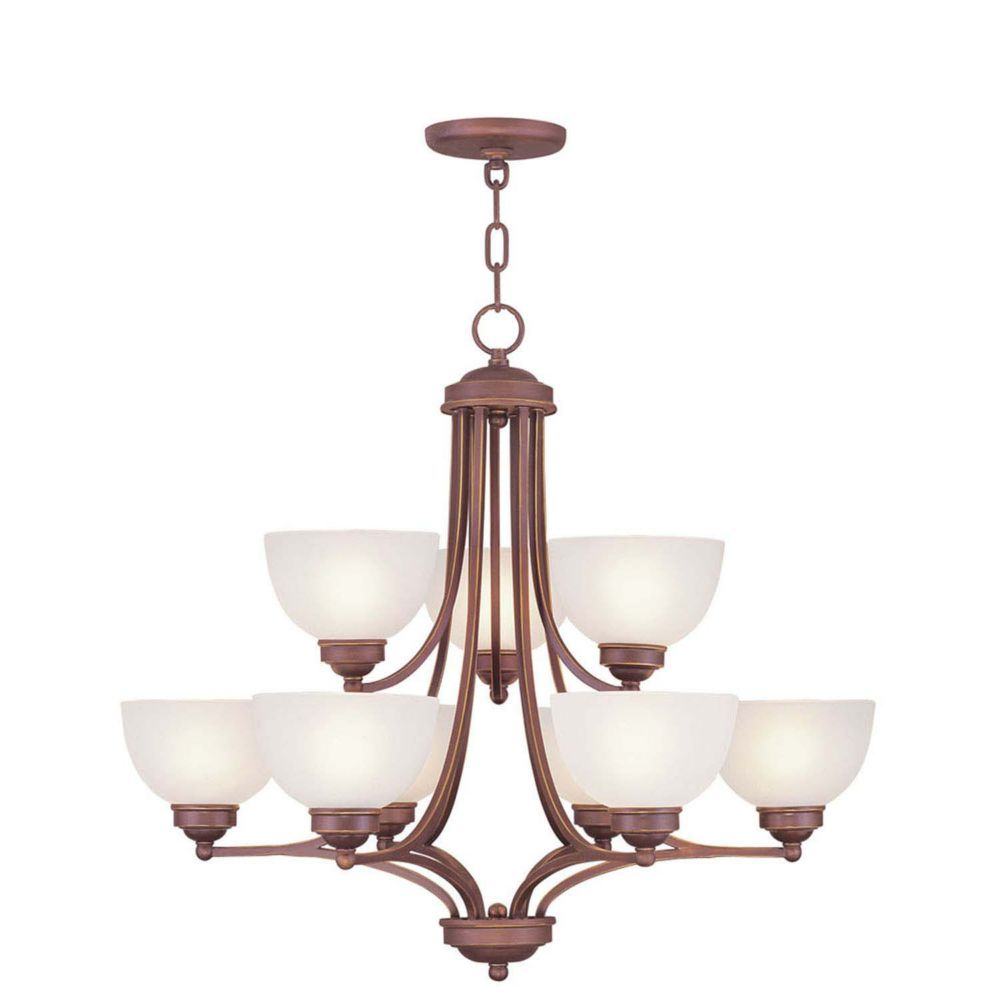 Providence 6-Light Bronze Chandelier with Satin Glass