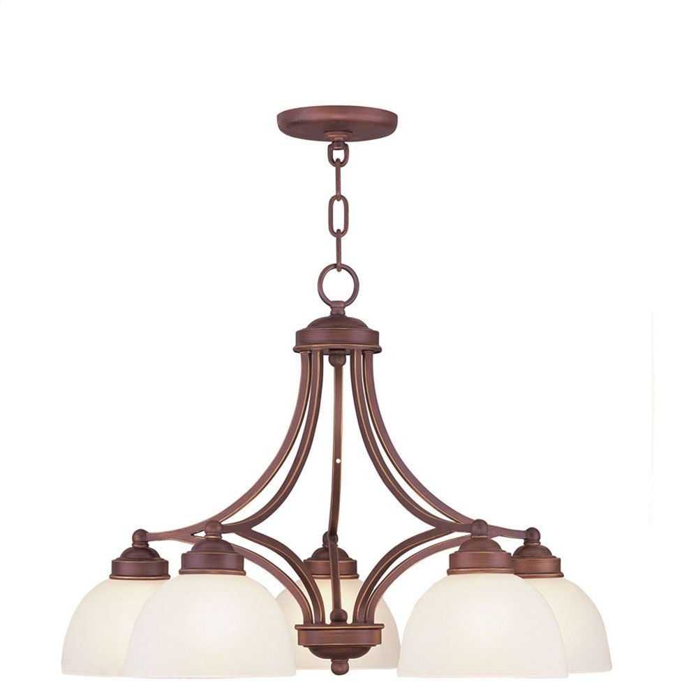 Providence 5-Light Vintage Bronze Chandelier with Satin Glass