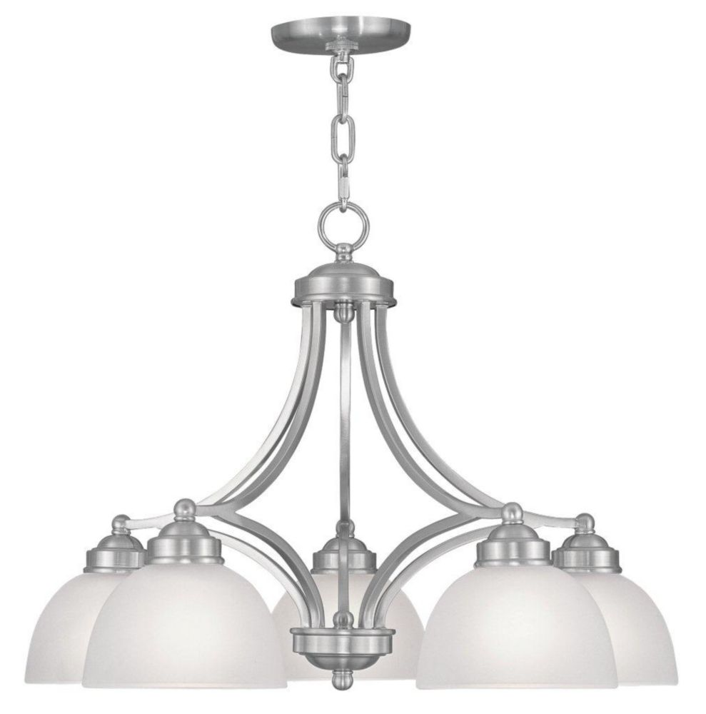 Providence 5-Light Brushed Nickel Chandelier with Satin Glass