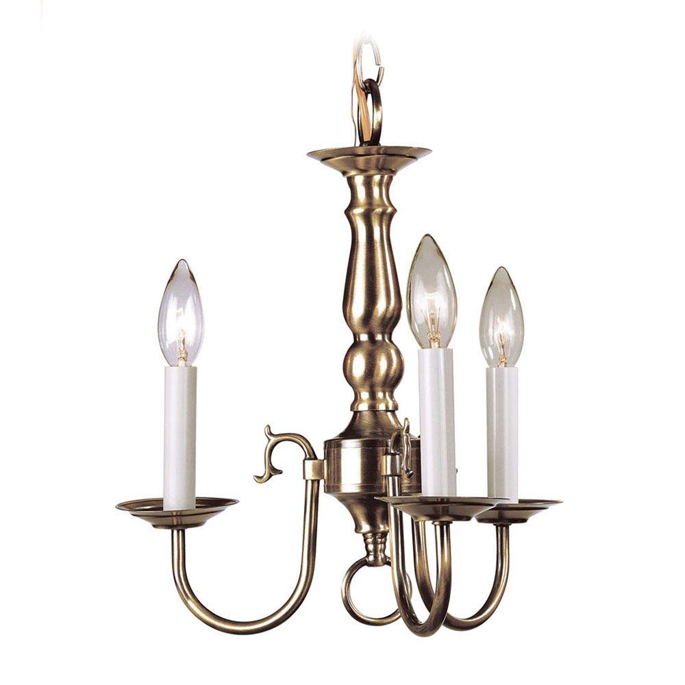 Providence 3 Light Antique Brass Incandescent Chandelier