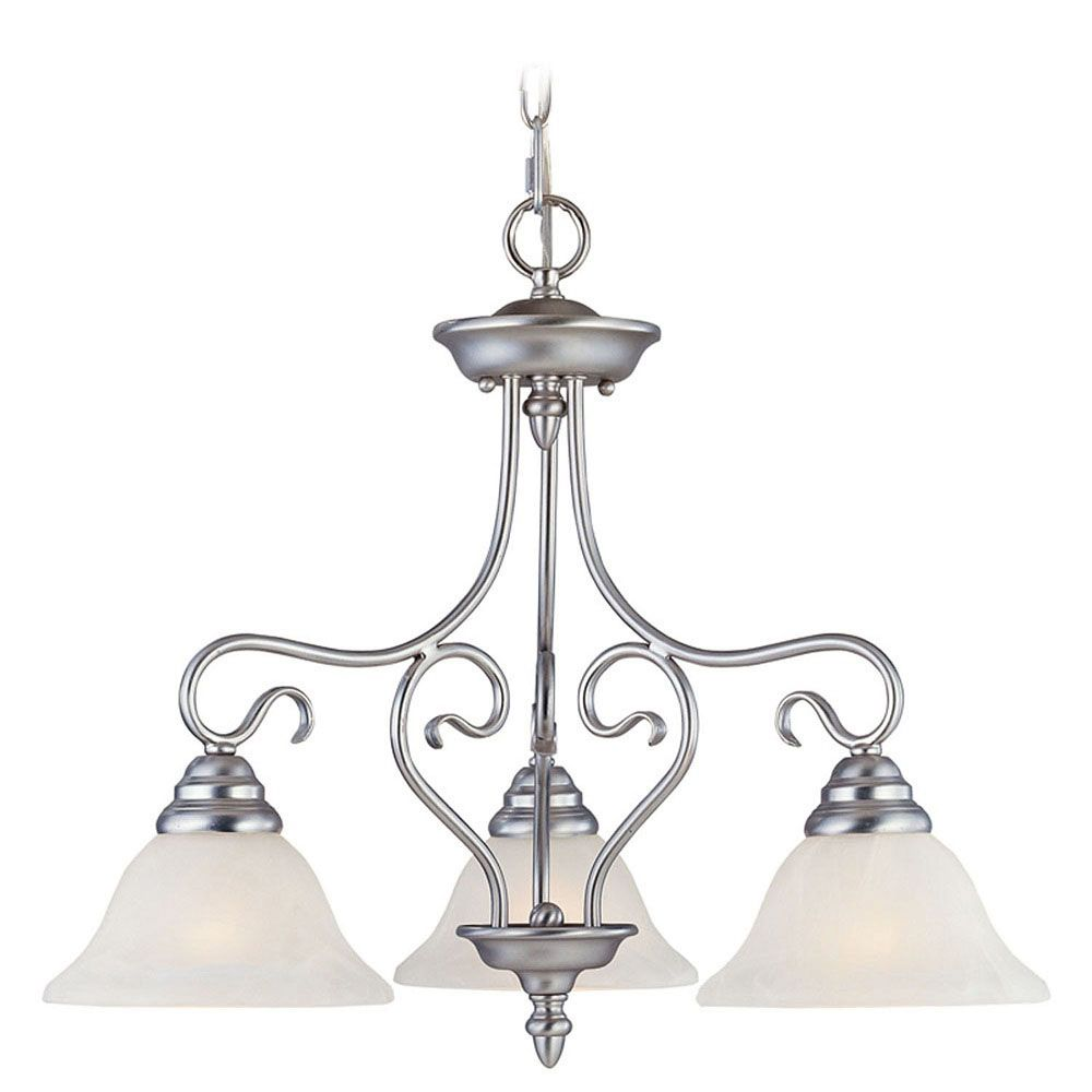 Providence 3-Light Brushed Nickel Chandelier with White Alabaster Glass