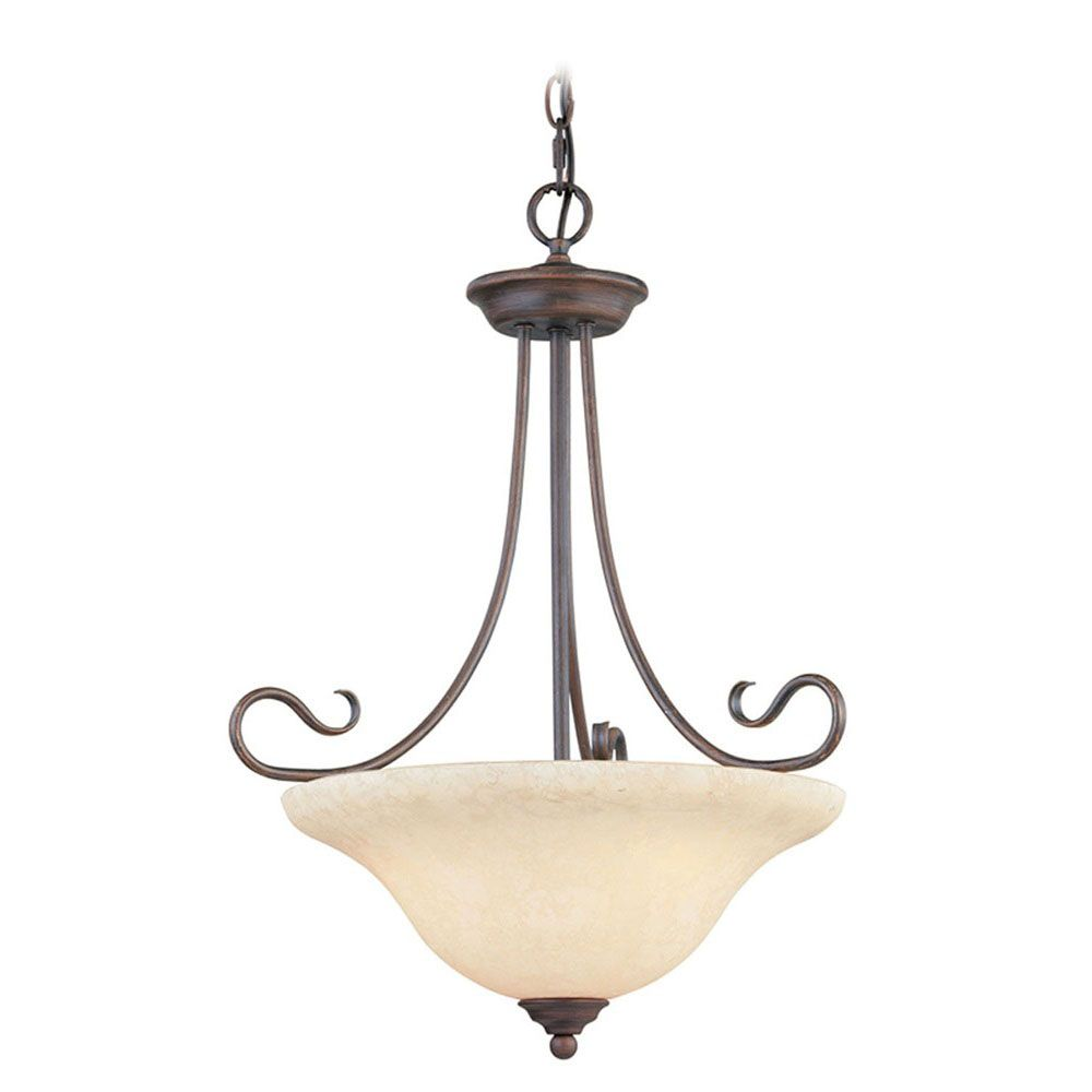Providence 3 Light Bronze Incandescent Inverted Pendant with Vintage Scavo Glass