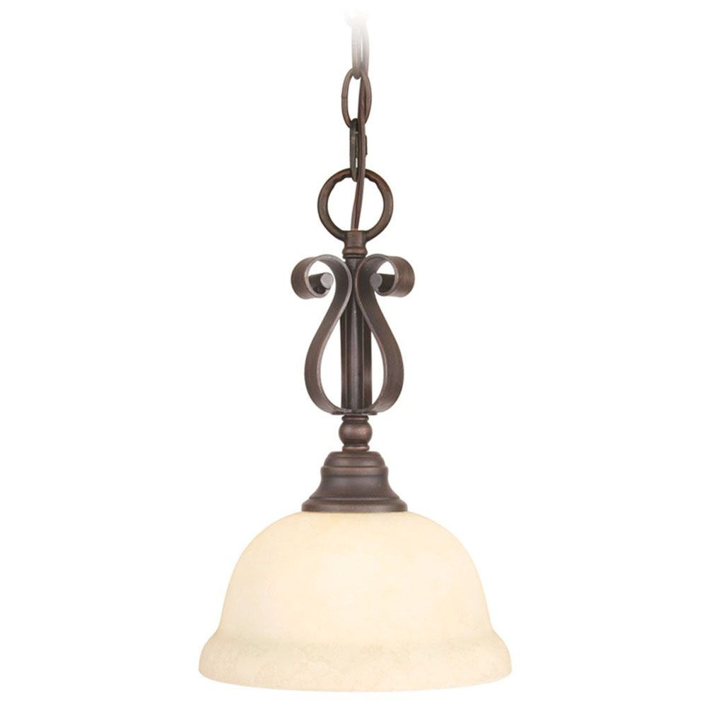 Providence 1-Light Bronze Mini Pendant with Vintage Scavo Glass