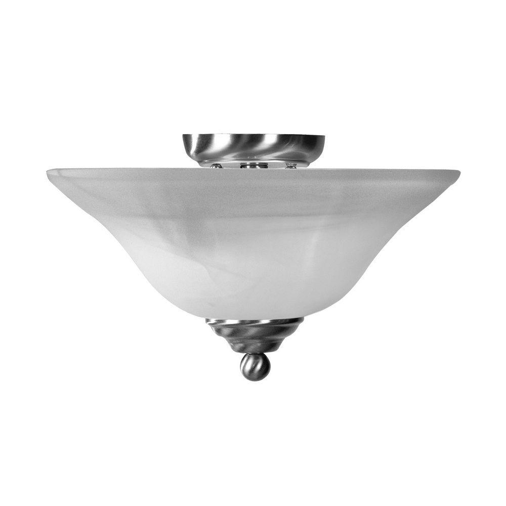Providence 2-Light Brushed Nickel Semi Flush Mount with White Alabaster Glass