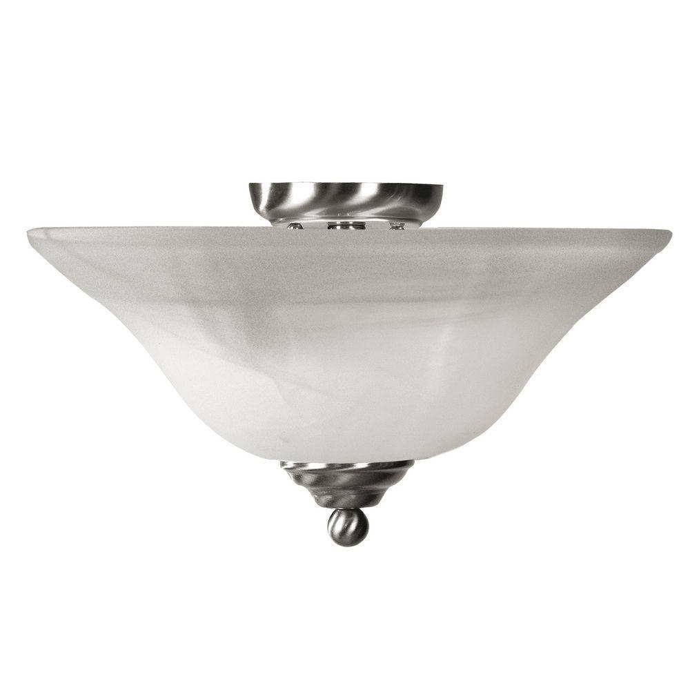 Providence 3 Light Brushed Nickel Incandescent Semi Flush Mount with White Alabaster Glass