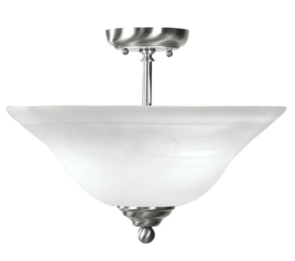 Providence 2 Light Brushed Nickel Incandescent Semi Flush Mount with White Alabaster Glass