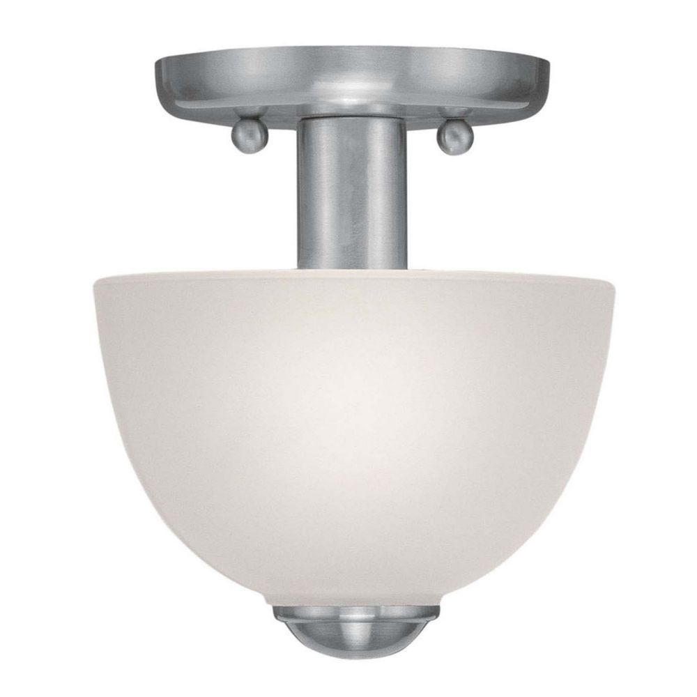 Providence 1 Light Brushed Nickel Incandescent Semi Flush Mount with Satin Glass