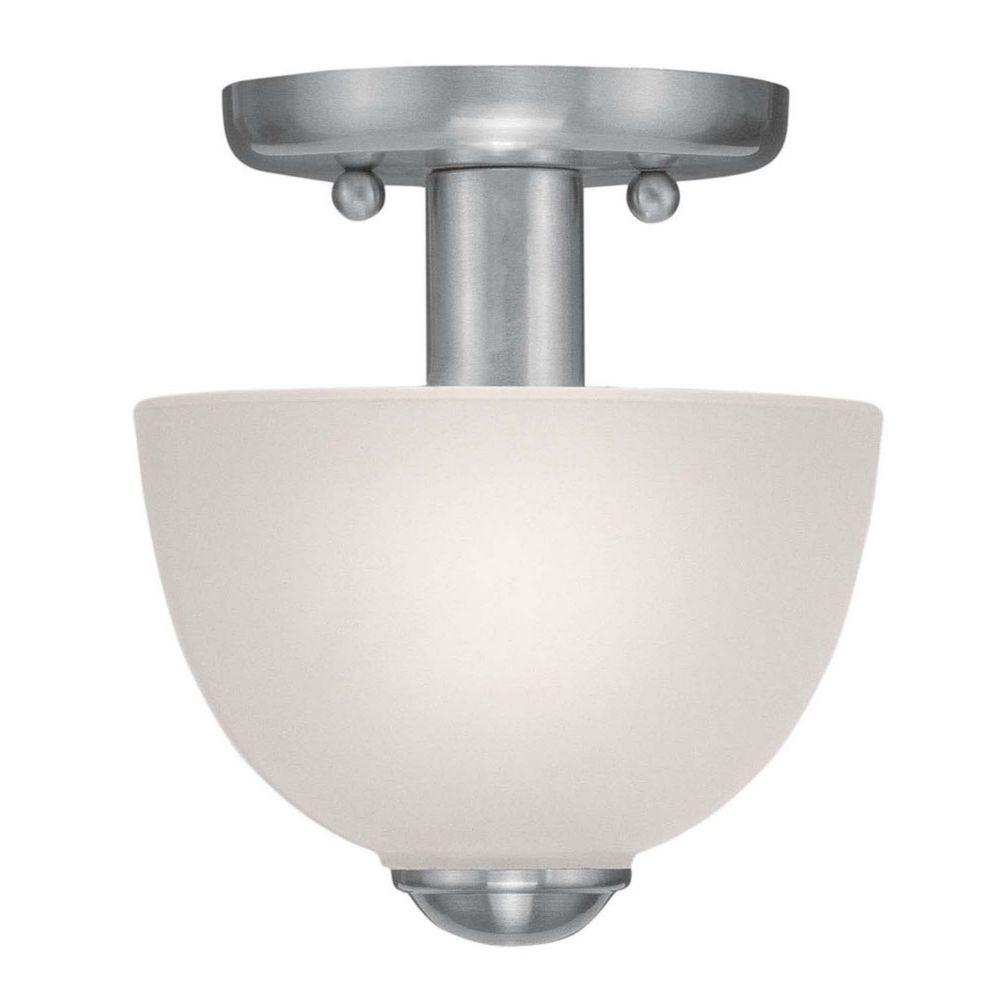 Providence 1-Light Brushed Nickel Semi Flush Mount with Satin Glass