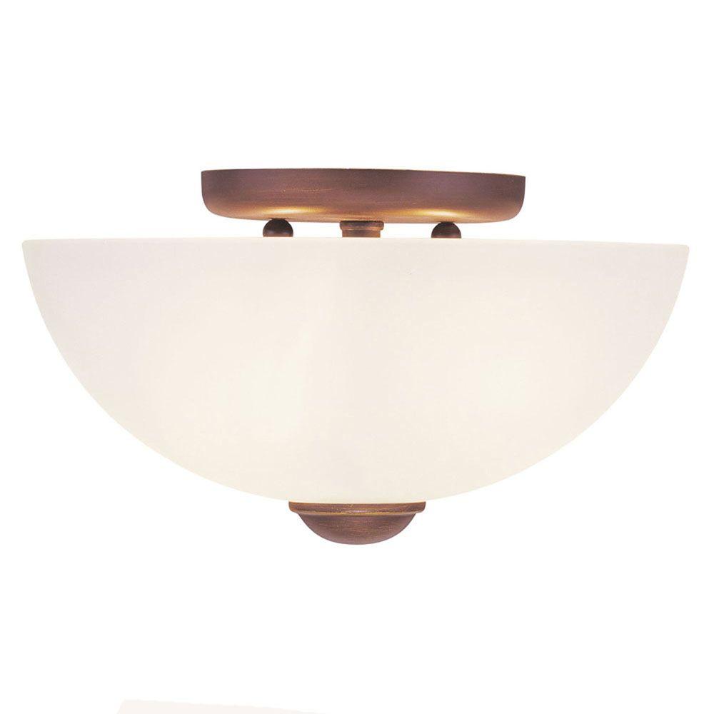 Providence 2-Light Bronze Semi Flush Mount with Satin Glass
