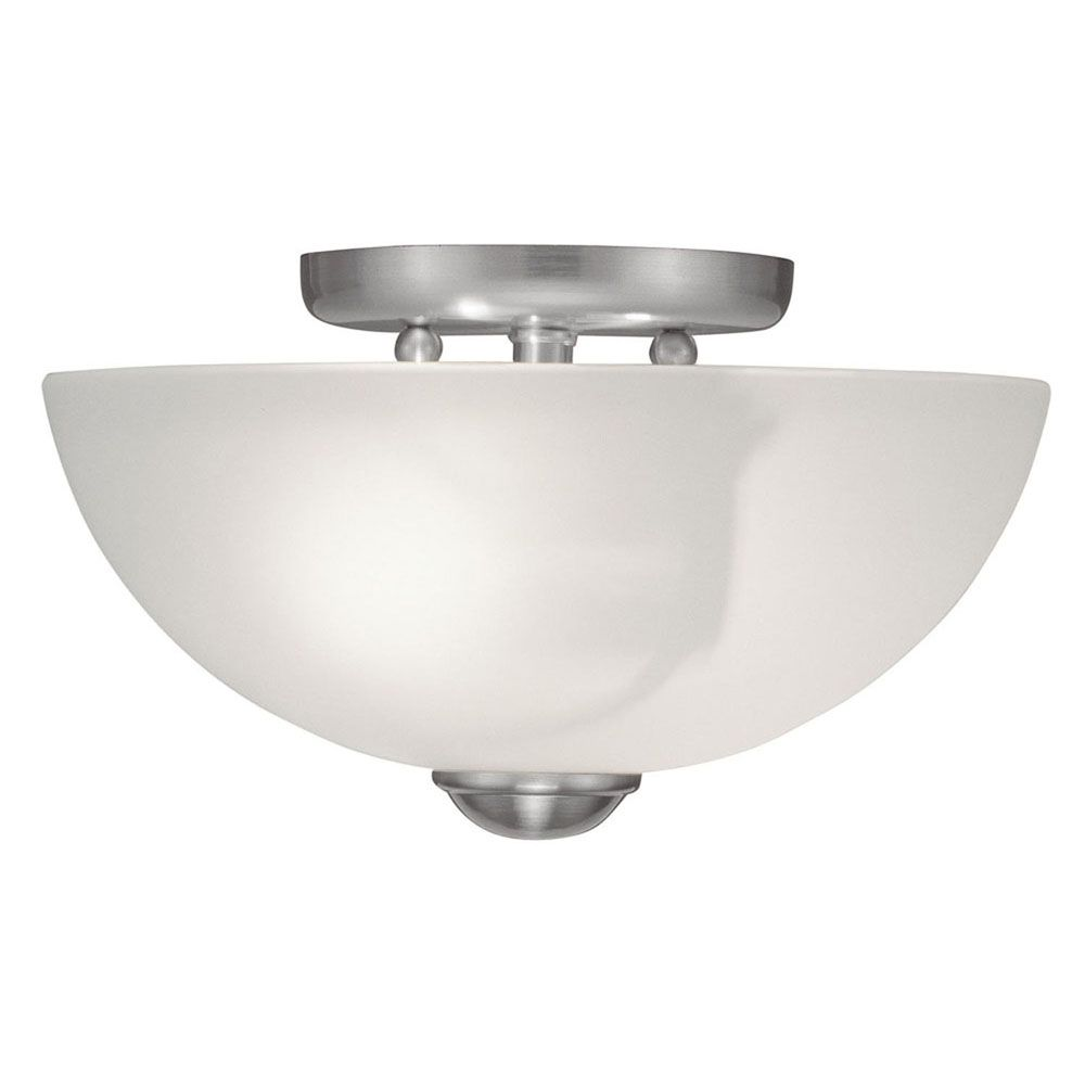 Providence 2 Light Brushed Nickel Incandescent Semi Flush Mount with White Satin Glass CLI-LTG4206-91 Canada Discount