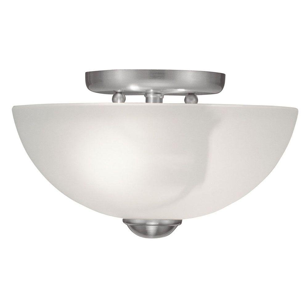 Providence 2-Light Brushed Nickel Semi Flush Mount with White Satin Glass