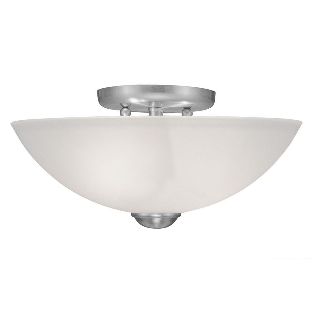Providence 2-Light Brushed Nickel Semi Flush Mount with Satin Glass