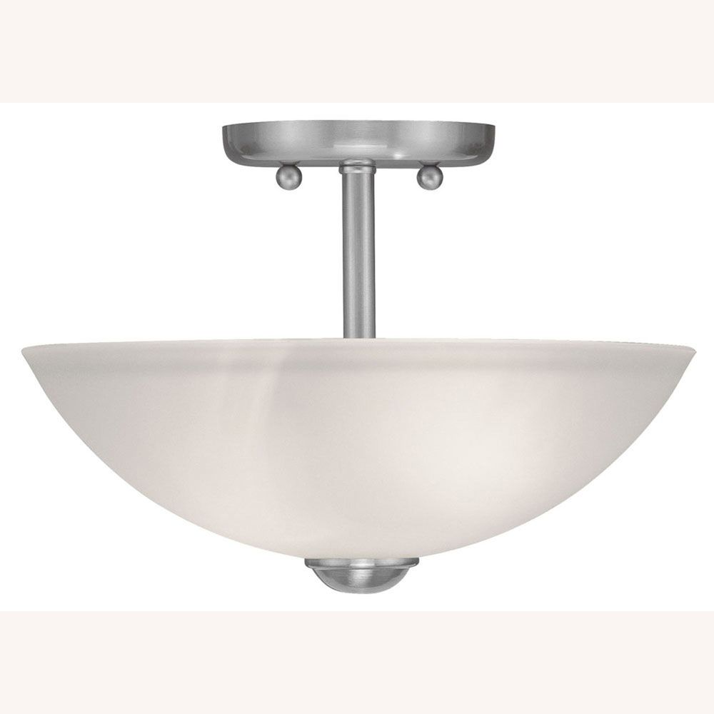 Providence 2 Light Brushed Nickel Incandescent Semi Flush Mount with Satin Glass