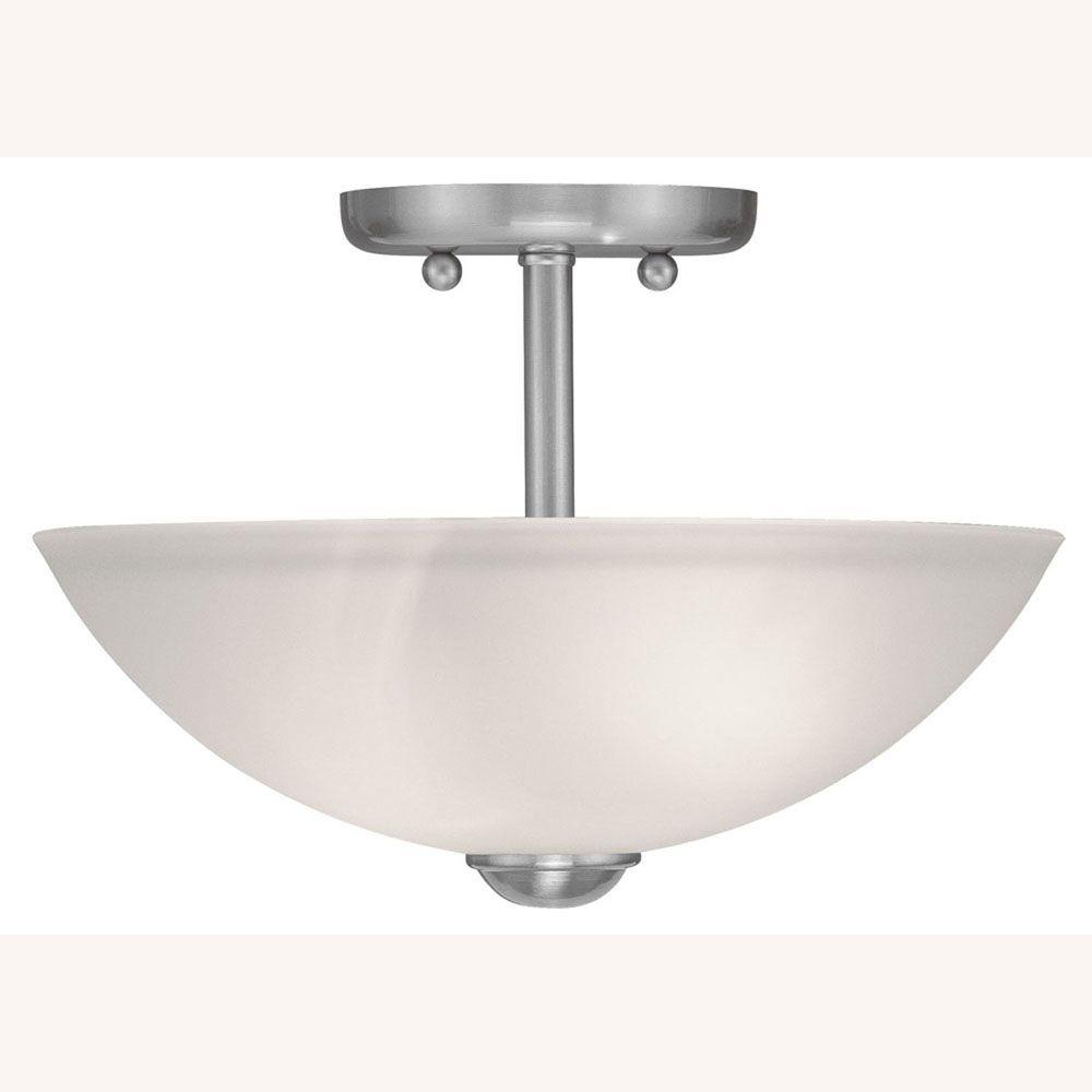 Providence 2-Light Brushed Nickel Semi Flush Mount with Satin Glass