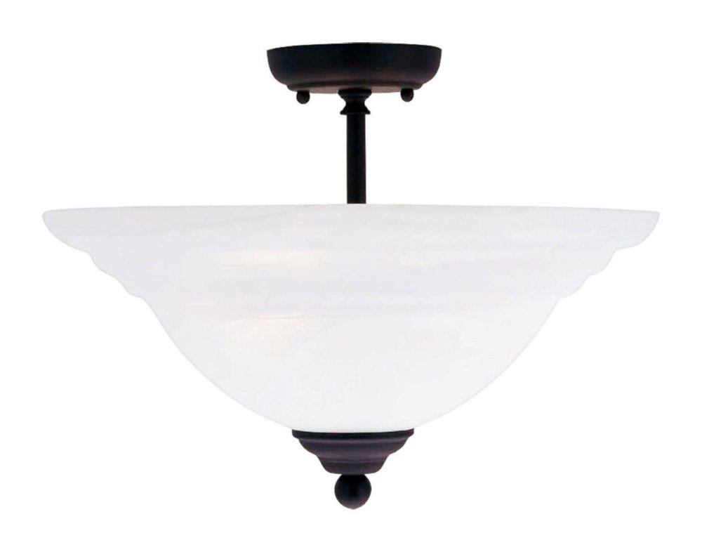 Providence 3-Light Black Semi Flush Mount with White Alabaster Glass