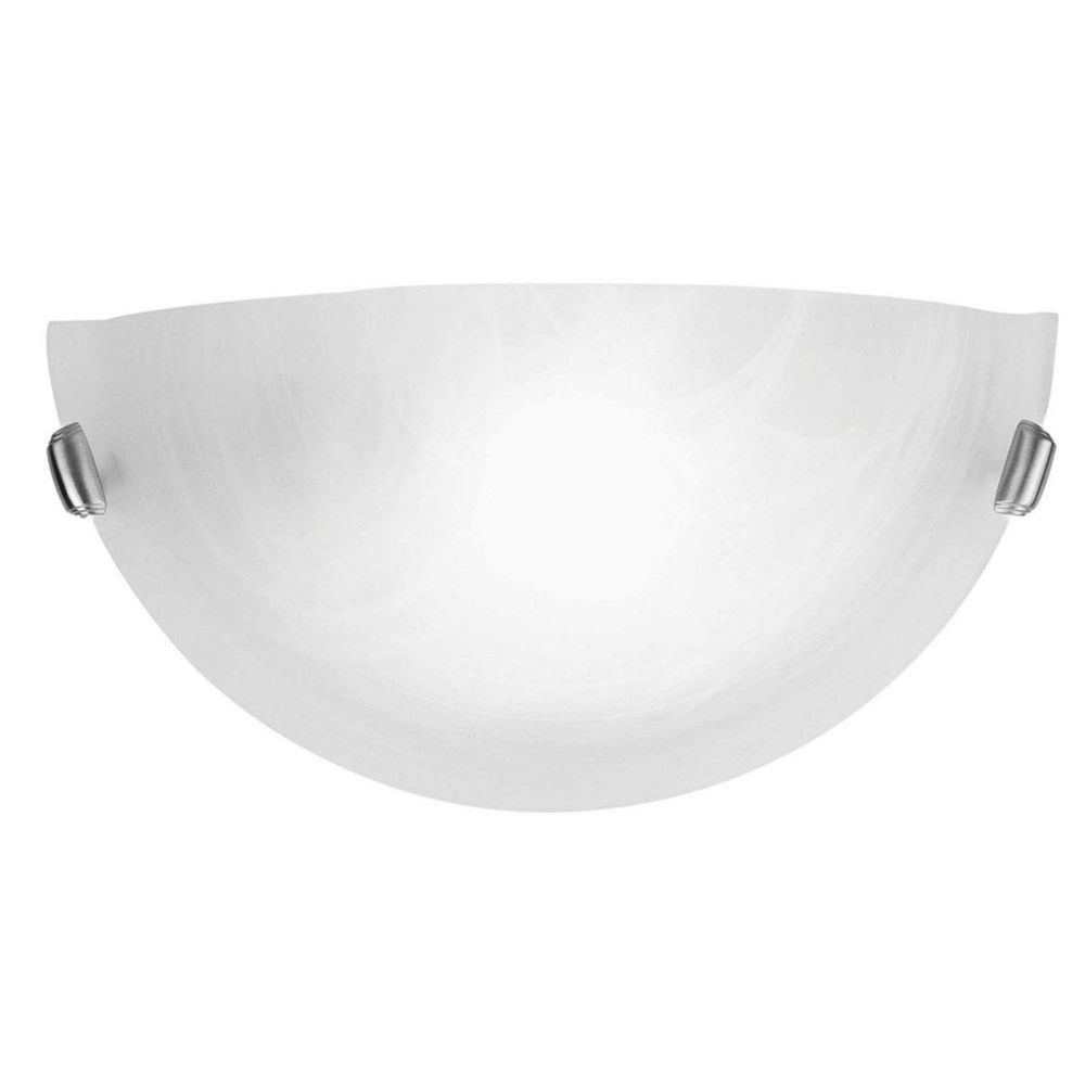Providence 1-Light Brushed Nickel Wall Sconce with White Alabaster Glass