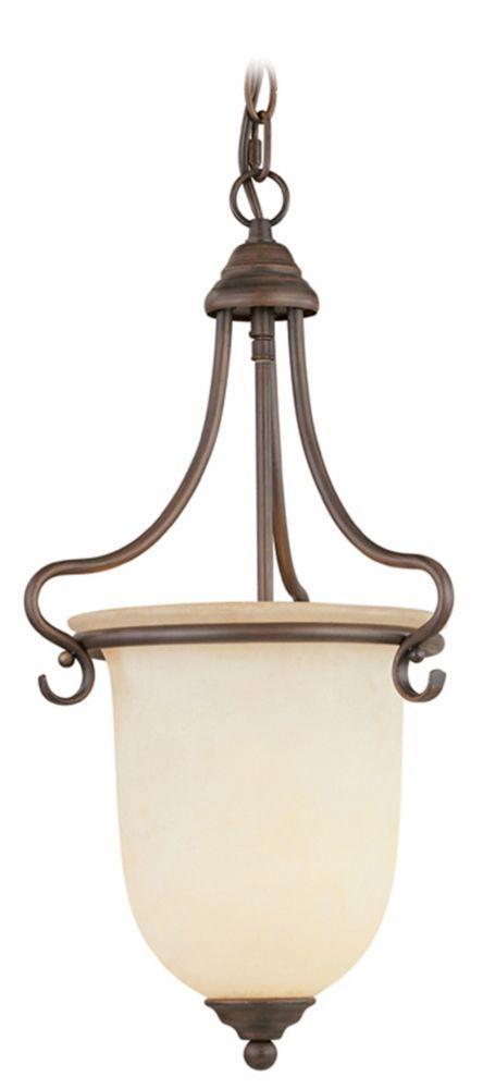 Providence 1-Light Bronze Pendant with Vintage Scavo Glass