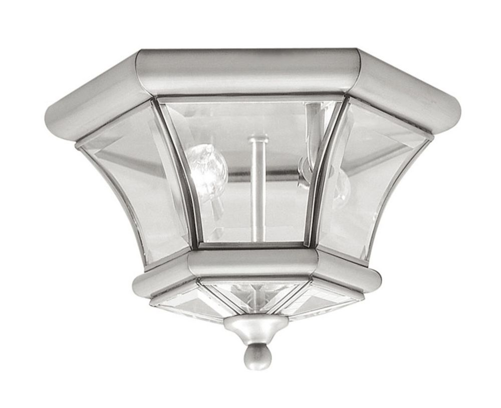 Providence 2-Light Brushed Nickel Semi Flush Mount with Clear Beveled Glass