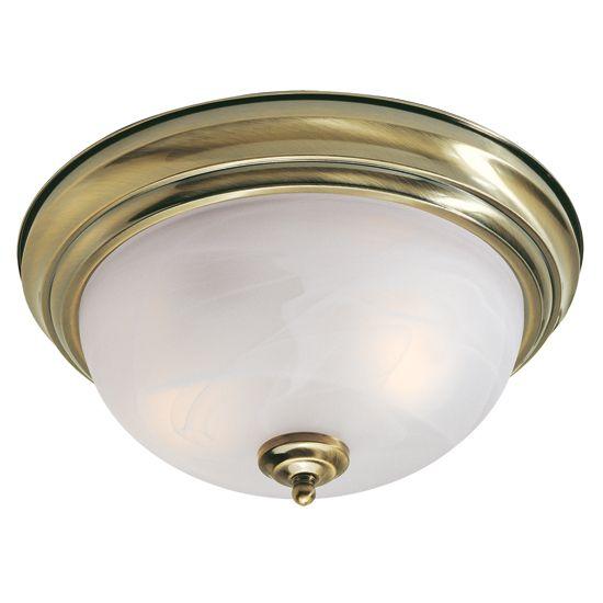 Providence 2 Light Antique Brass Incandescent Semi Flush Mountwith White Alabaster Glass