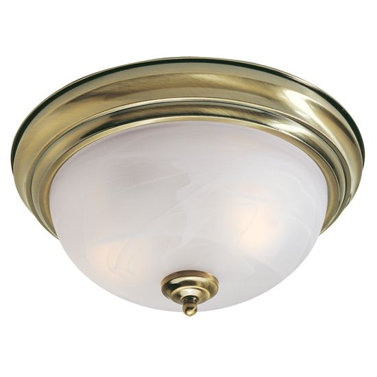 Providence 2-Light Antique Brass Semi Flush Mount with White Alabaster Glass
