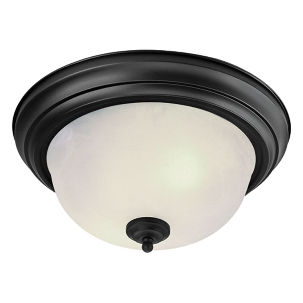Providence 2-Light Black Semi Flush Mount with White Alabaster Glass