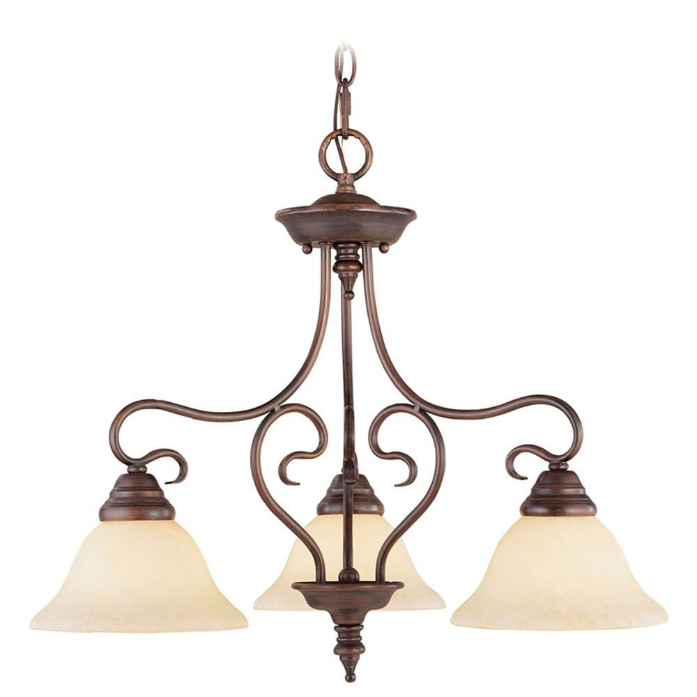 Providence 3-Light Imperial Bronze Chandelier with Vintage Scavo Glass