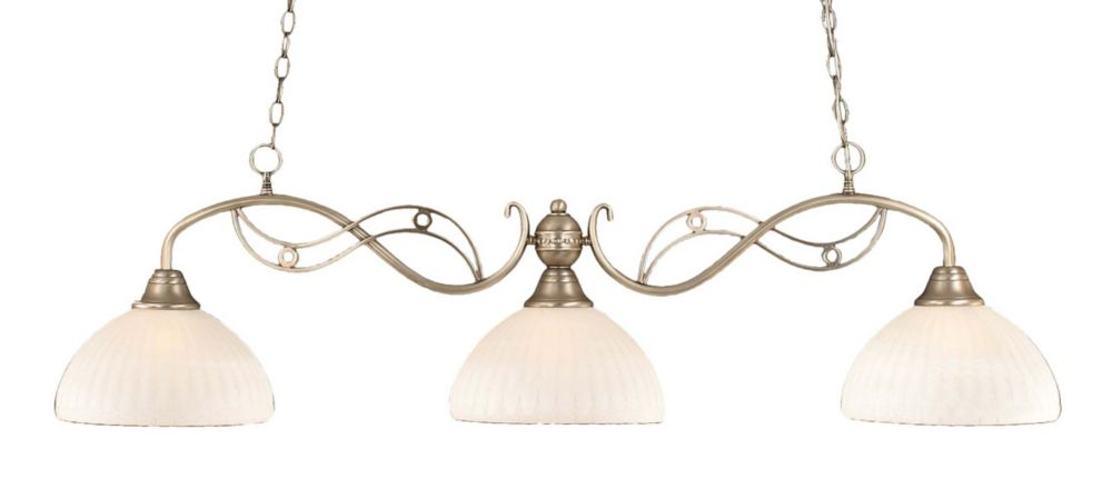 Concord 3 Light Ceiling Brushed Nickel Incandescent Billiard Bar with an Alabaster Glass