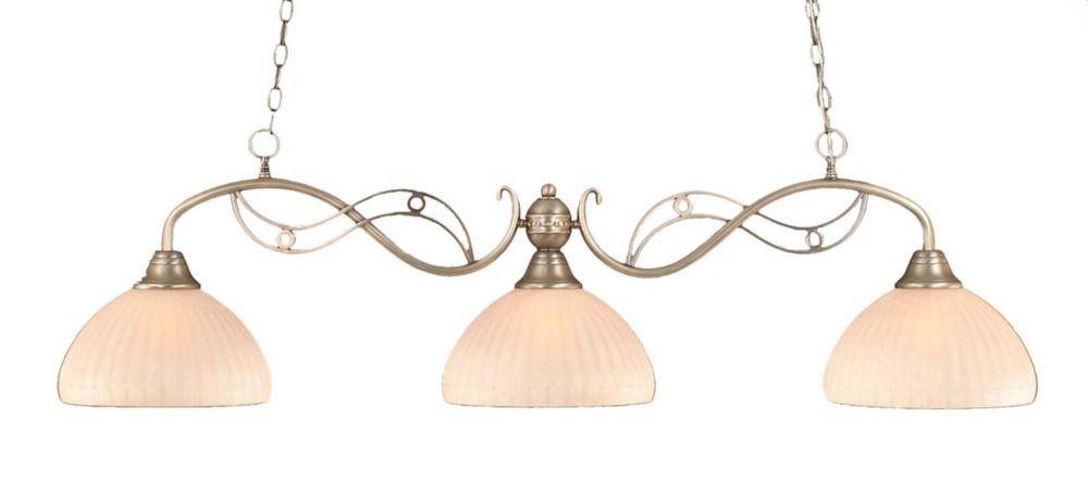 Concord 3-Light Ceiling Brushed Nickel Billiard Bar with a Rosetta Pumpkin Glass