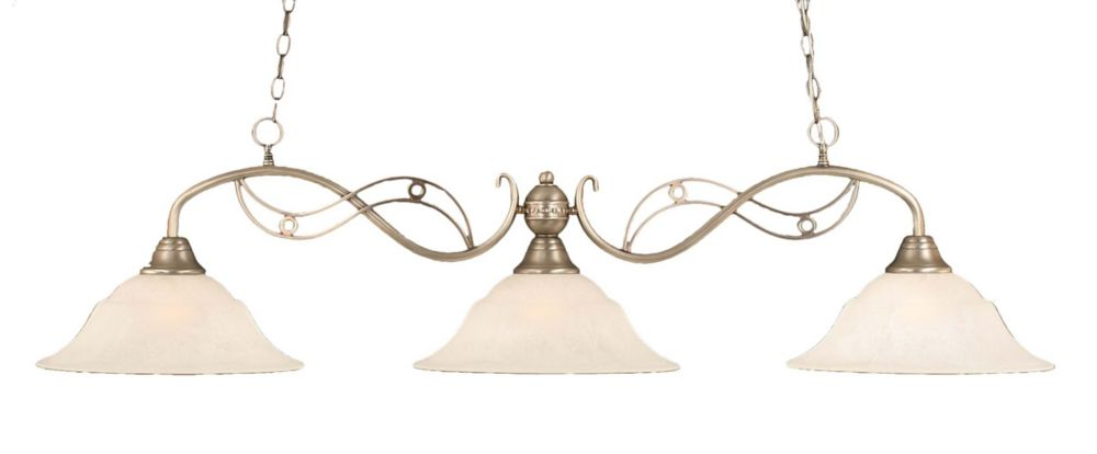 Concord 3 Light Ceiling Brushed Nickel Incandescent Billiard Bar with a White Marble Glass