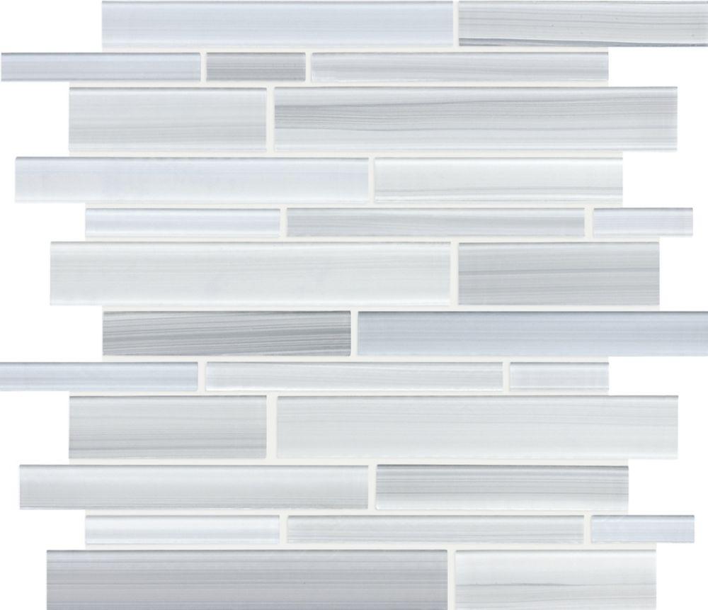 Strip Glass Mosaic Tile in Tribeca Glacier