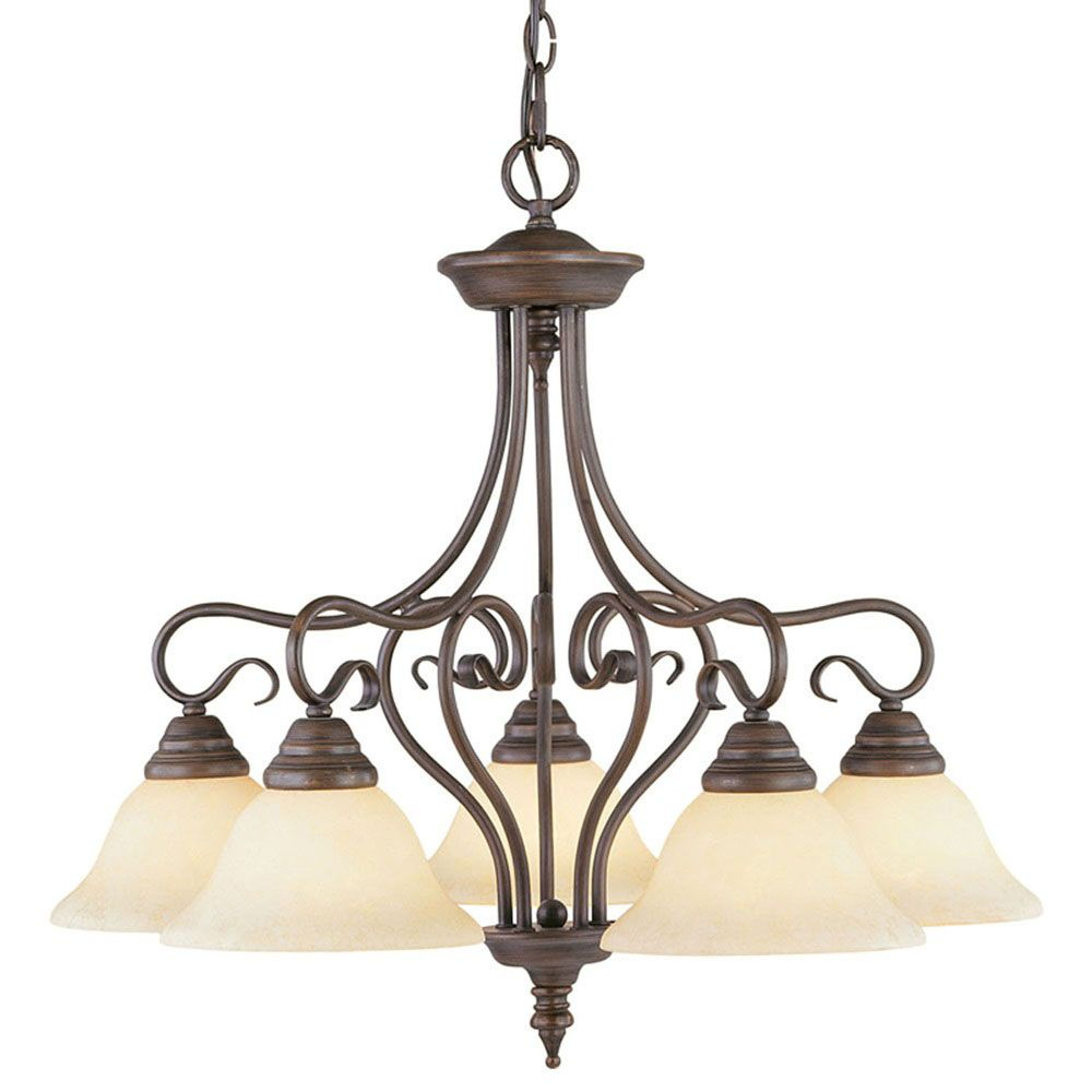 Providence 5 Light Bronze Incandescent Chandelier with Vintage Scavo Glass