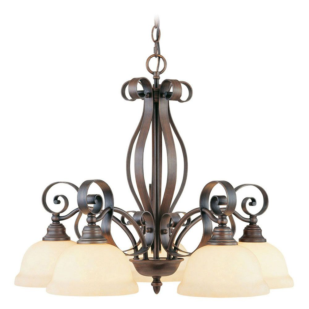 Providence 5-Light Imperial Bronze Chandelier with Vintage Scavo Glass