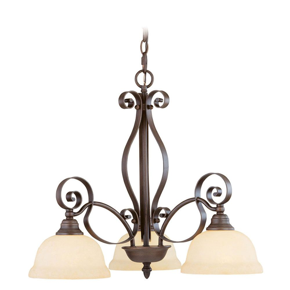 Providence 3-Light Bronze Chandelier with Vintage Scavo Glass
