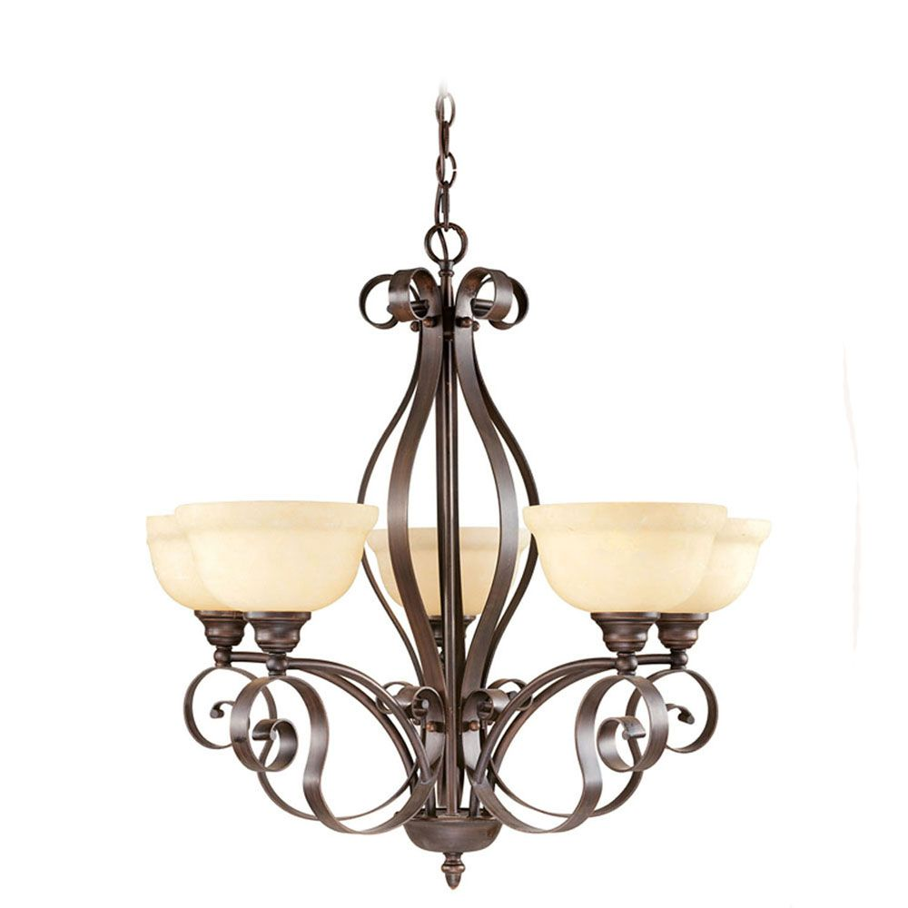 Providence 5 Light Imperial Bronze Incandescent Chandelier with Vintage Scavo Glass